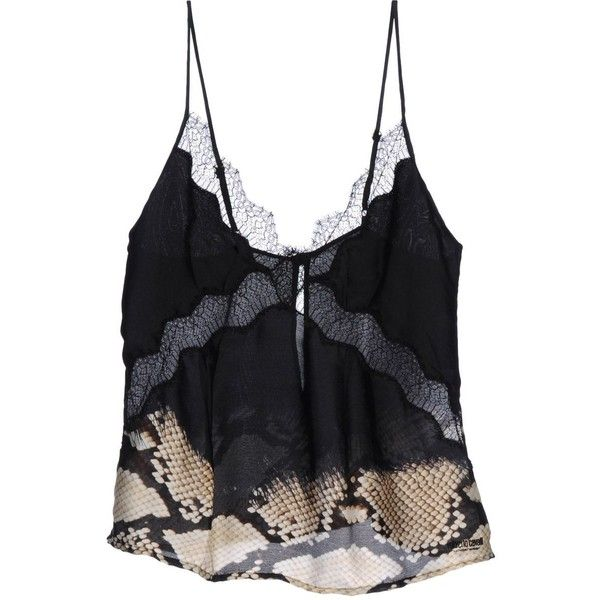 ROBERTO CAVALLI UNDERWEAR Tank top (€39) ❤ liked on Polyvore featuring tops, shirts, lingerie, tank tops, black and roberto cavalli