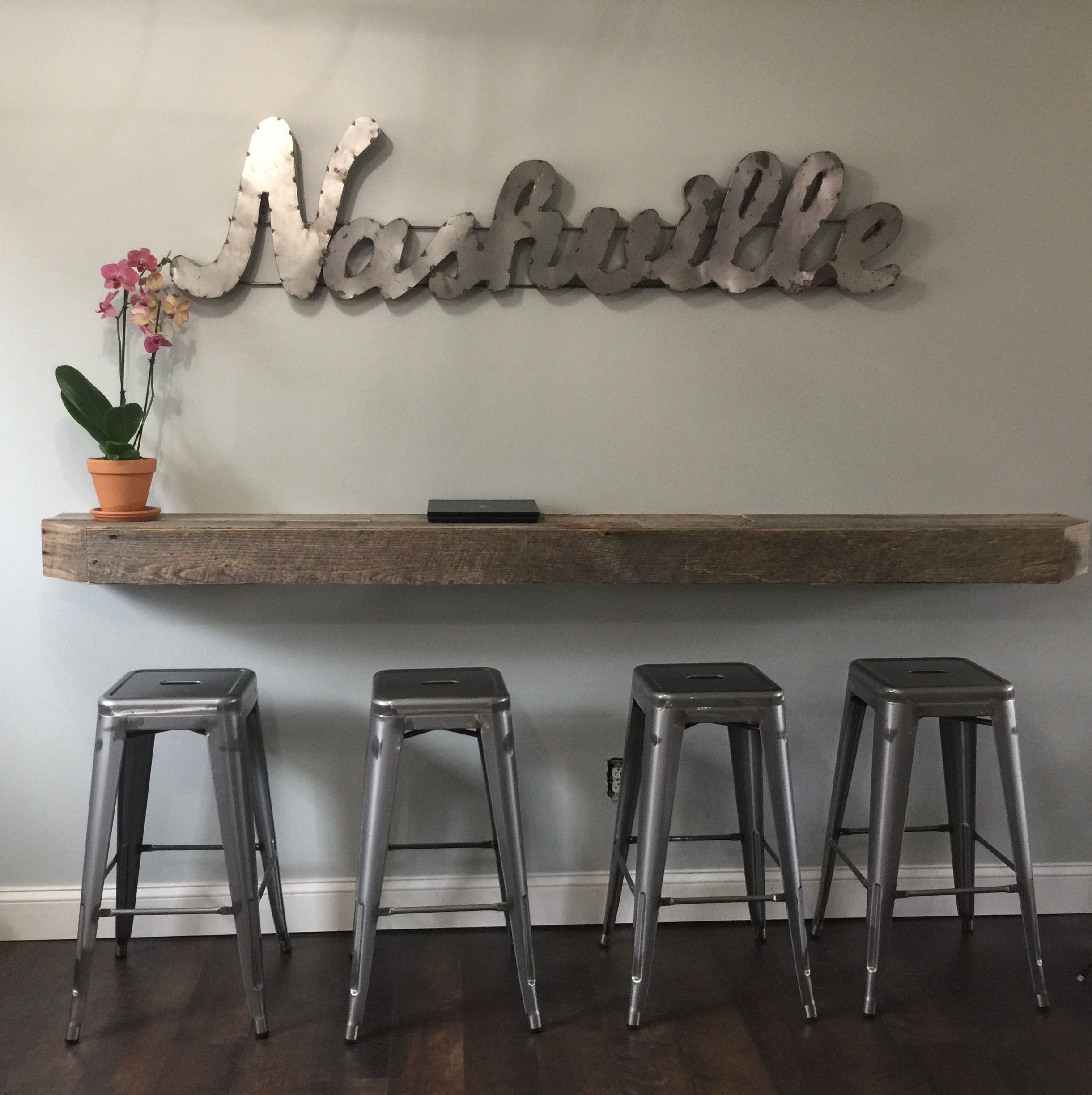 Reclaimed Barnwood From Good Wood Nashville Carlisle Stools From Target We Created This Floating Shelves Living Room Floating Shelves Bathroom Bar Furniture