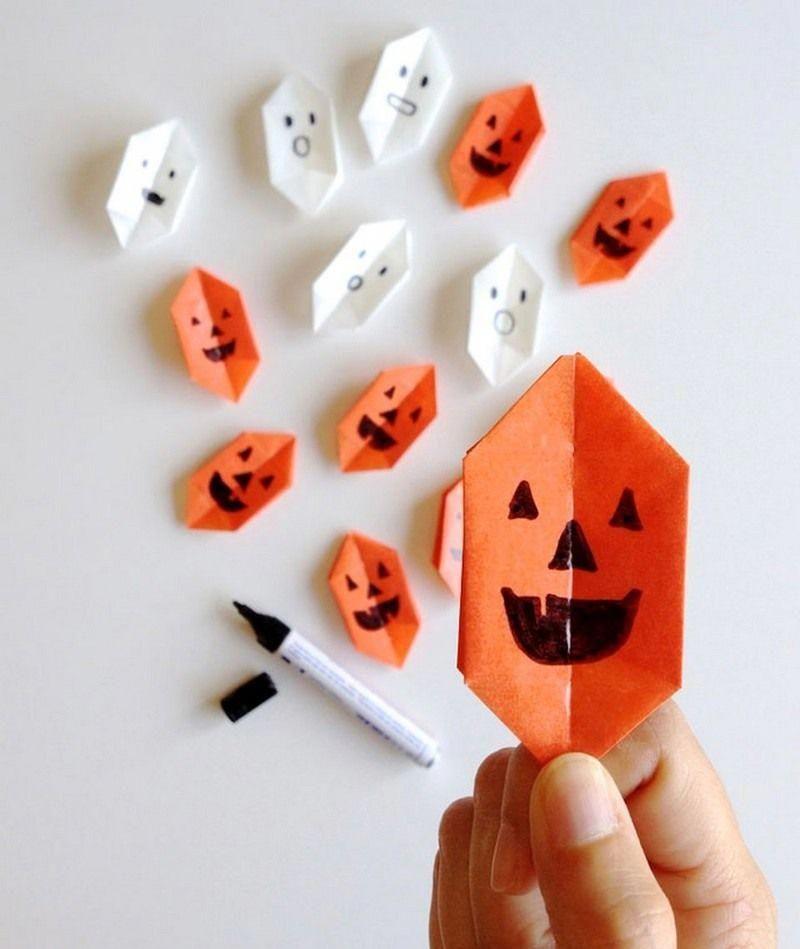 Origami Facile à Fabriquer Guirlande De Citrouilles En Papier