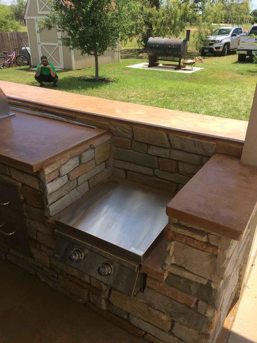 Power Burner For Crawfish Boils The Walls Are Made Of Concrete Www Clifrock Com Outdoor Kitchen Backyard Oasis Backyard