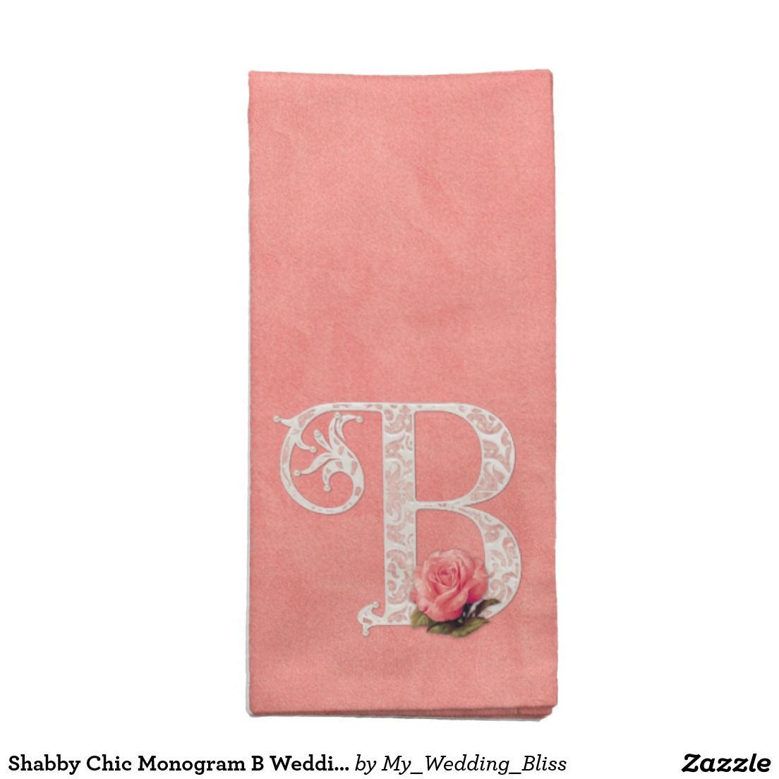 Shabby chic monogram b wedding cloth napkin wedding b and