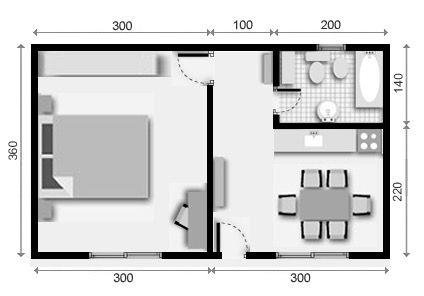1 plano de casa 1 dormitorio planos deptos pinterest for Plano departamento 2 dormitorios