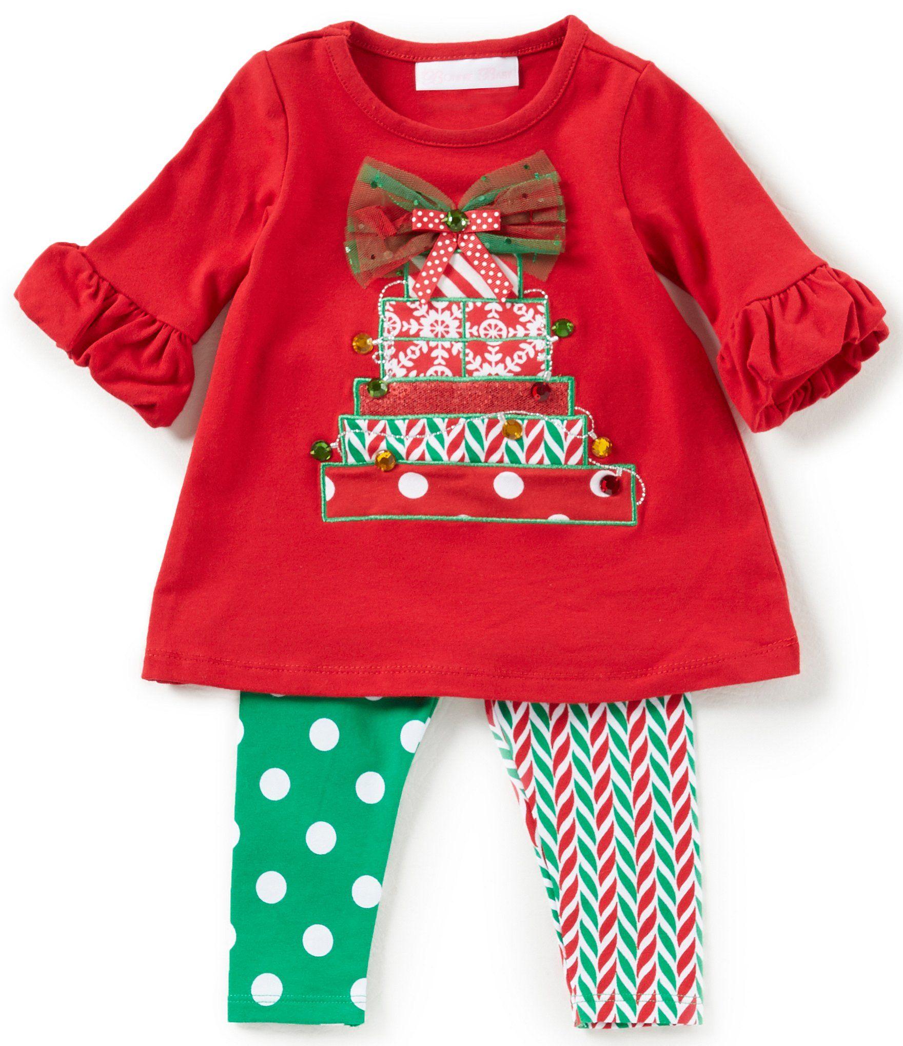 2b6187ac40de Bonnie Baby Baby Girls Newborn24 Months Christmas Present ALine Dress and  MixedMedia Leggings Set #Dillards