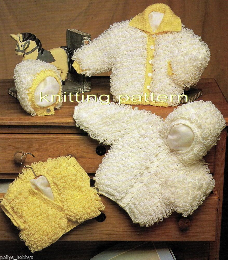 Knitting pattern baby loopy hooded jacket cardigan loop set dk #231 freepost ...