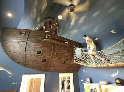 And if you're really handy, make this pirate ship bedroom, complete with a bridge and rope that descends into the closet. | 21 DIY Ways To Make Your Child's Bedroom Magical