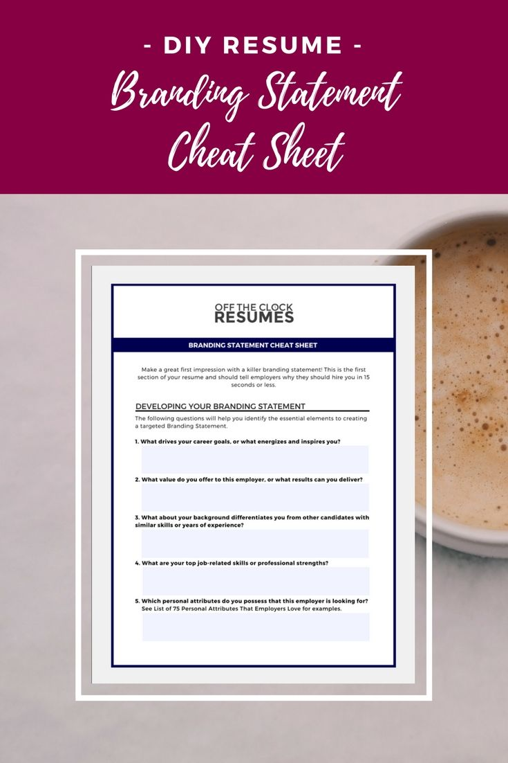 Resume Branding Statement Examples Branding Statement Cheat Sheet  Career Goals