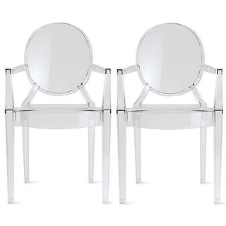 2xhome   Set Of Two (2)   Clear   Belle Ghost Chair Clear Side Chair Armless