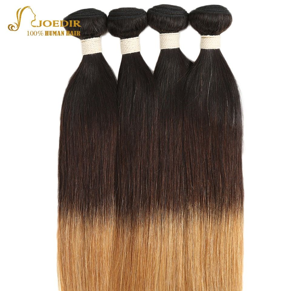Joedir Indian Human Hair Weave Bundles Straight Omber Color 1b 4