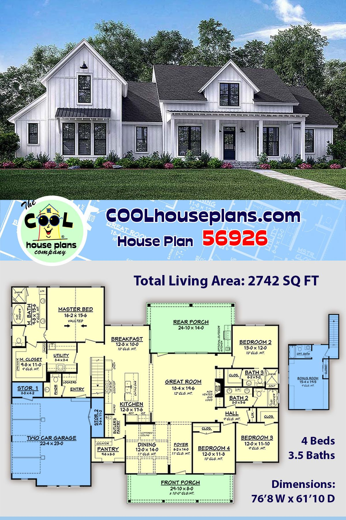 Southern Style House Plan 56926 With 4 Bed 4 Bath 2 Car Garage House Plans Southern Style House Plans Brick Exterior House