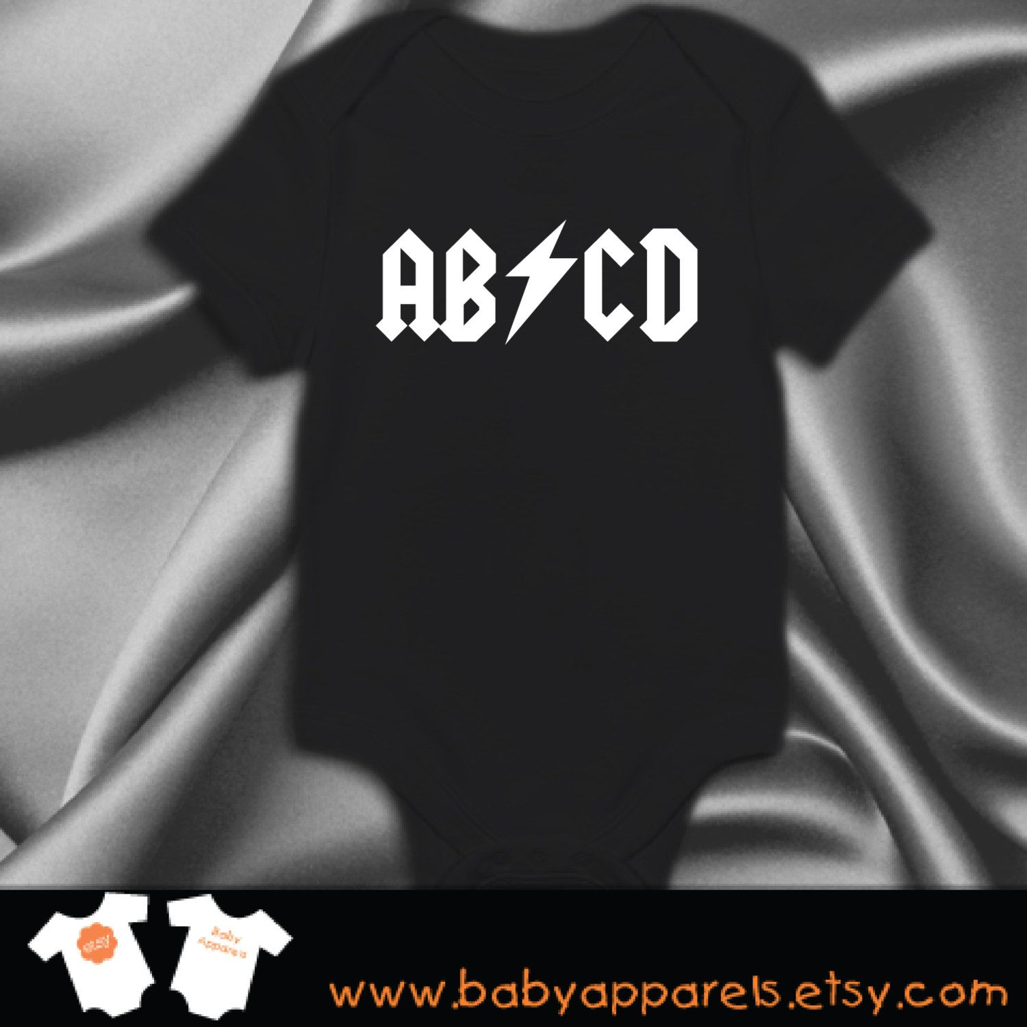 ABCD ACDC Rock Band baby Clothes Funny Baby Clothes Newborn Baby