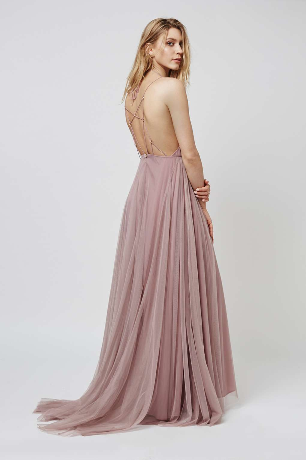Tulle Lace-Up Maxi Dress - We Love
