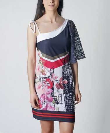 Look at this #zulilyfind! Navy & Red Floral City Asymmetrical Dress #zulilyfinds