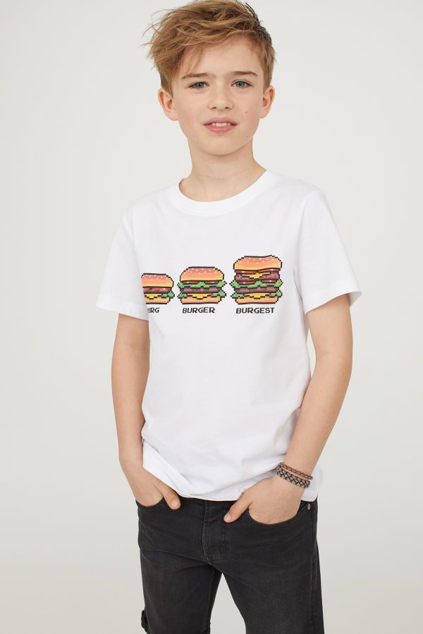 t shirt with printed design white kids h m us. Black Bedroom Furniture Sets. Home Design Ideas