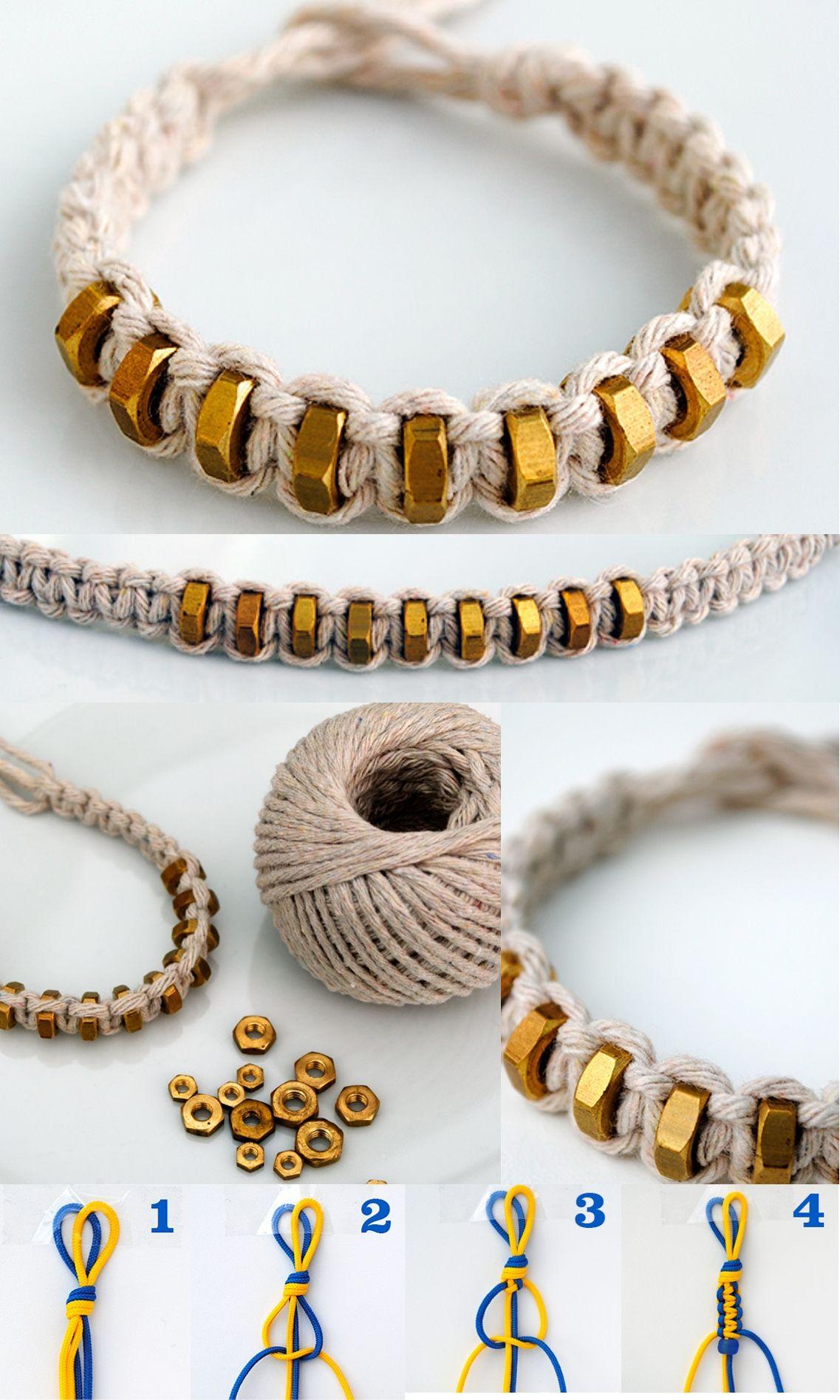 {macramé: square knot} string & hexnut bracelet ...