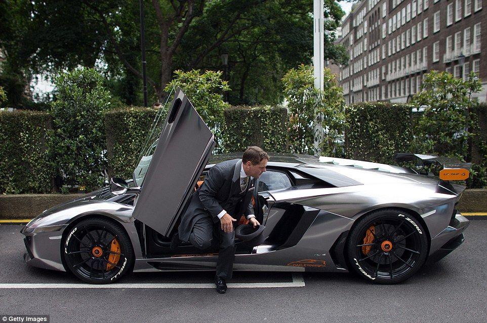 A Valet Exits After Parking A Kuwaiti Registered Lamborghini Aventador  LP760 4 Oakley Design