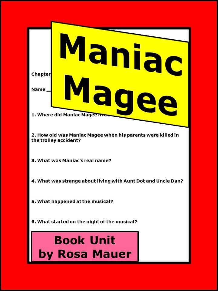 maniac magee novel study comprehension questions reading  maniac magee novel study