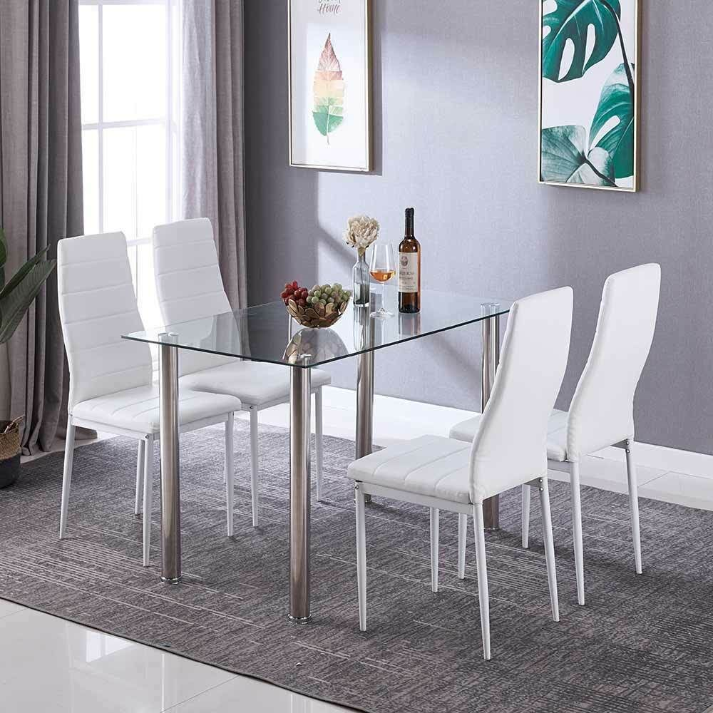 Details about Glass Rectangle Dining Table Set with 4