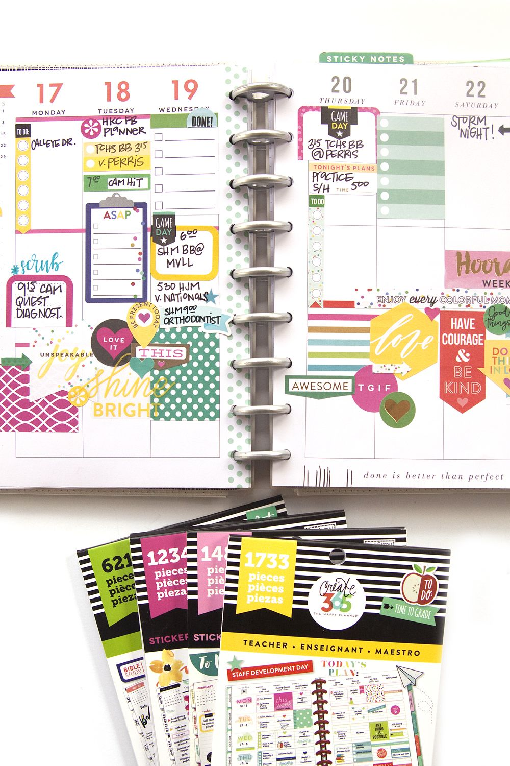 Layering A Cluster Of Stickers In The Happy Planner Sticker Activity Books My Big And Mighty Functional Frankenplanned Spread By Mambi Design Team Member Jennie Mcgarvey Me Ideas