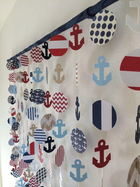 Ancla náutica papel decoración móvil colgante por CraftyLittlePeas - decoracion de cumpleaos