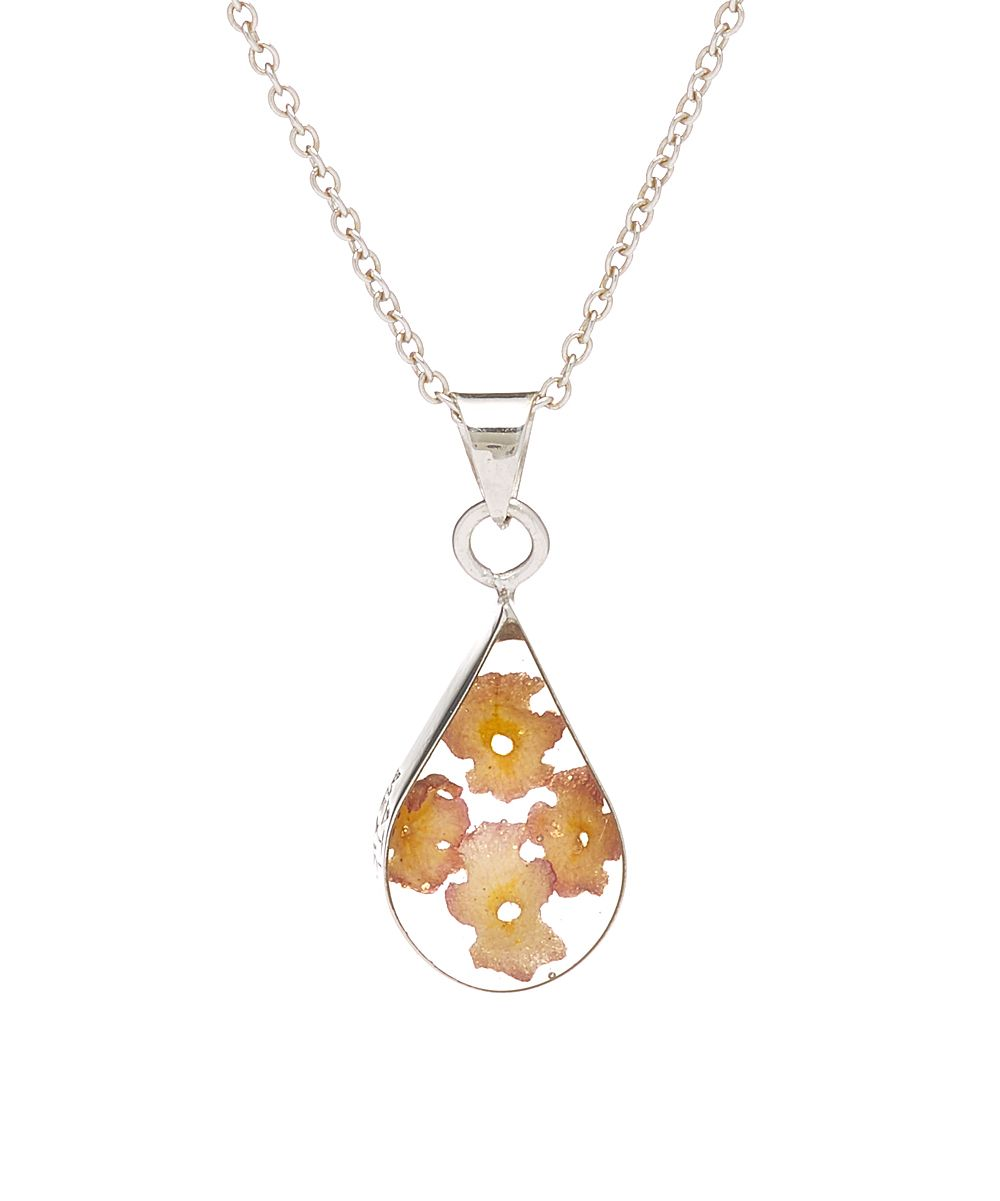 Yellow u SilverPlated Dried Flower Teardrop Pendant Necklace Products