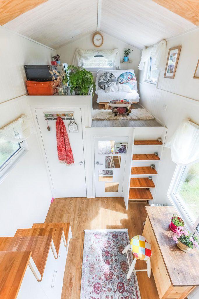 Woman S Dream Tiny House Even Has A Walk In Wardrobe Living Big In A Tiny House Tiny House Decor Tiny House Loft Tiny House Interior