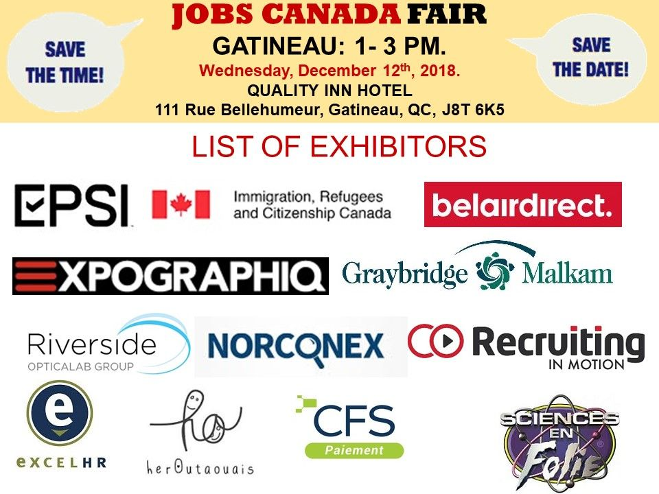 List of Hiring Companies for Gatineau Job Fair December