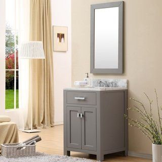 Water Creation Madison 24 Inch Cashmere Grey Single Sink Bathroom Vanity Vanity With 1 Mirror And 1 Faucet Gray Bathroom Sink Vanity Single Sink Bathroom Vanity Single Bathroom Vanity
