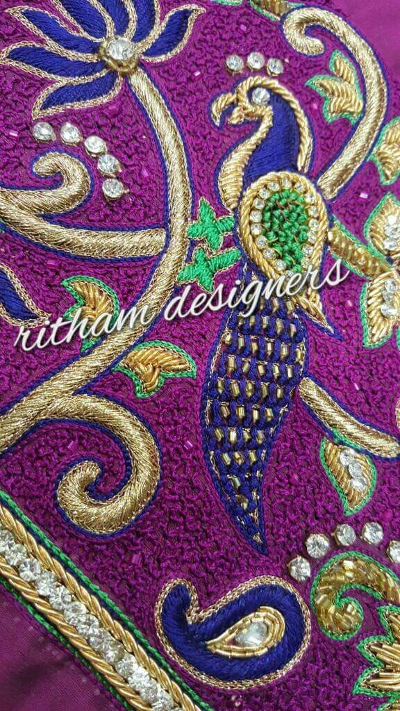 750ef14c86aec7 Peacock and lotus. Find this Pin and more on heavy maggam work blouses ...
