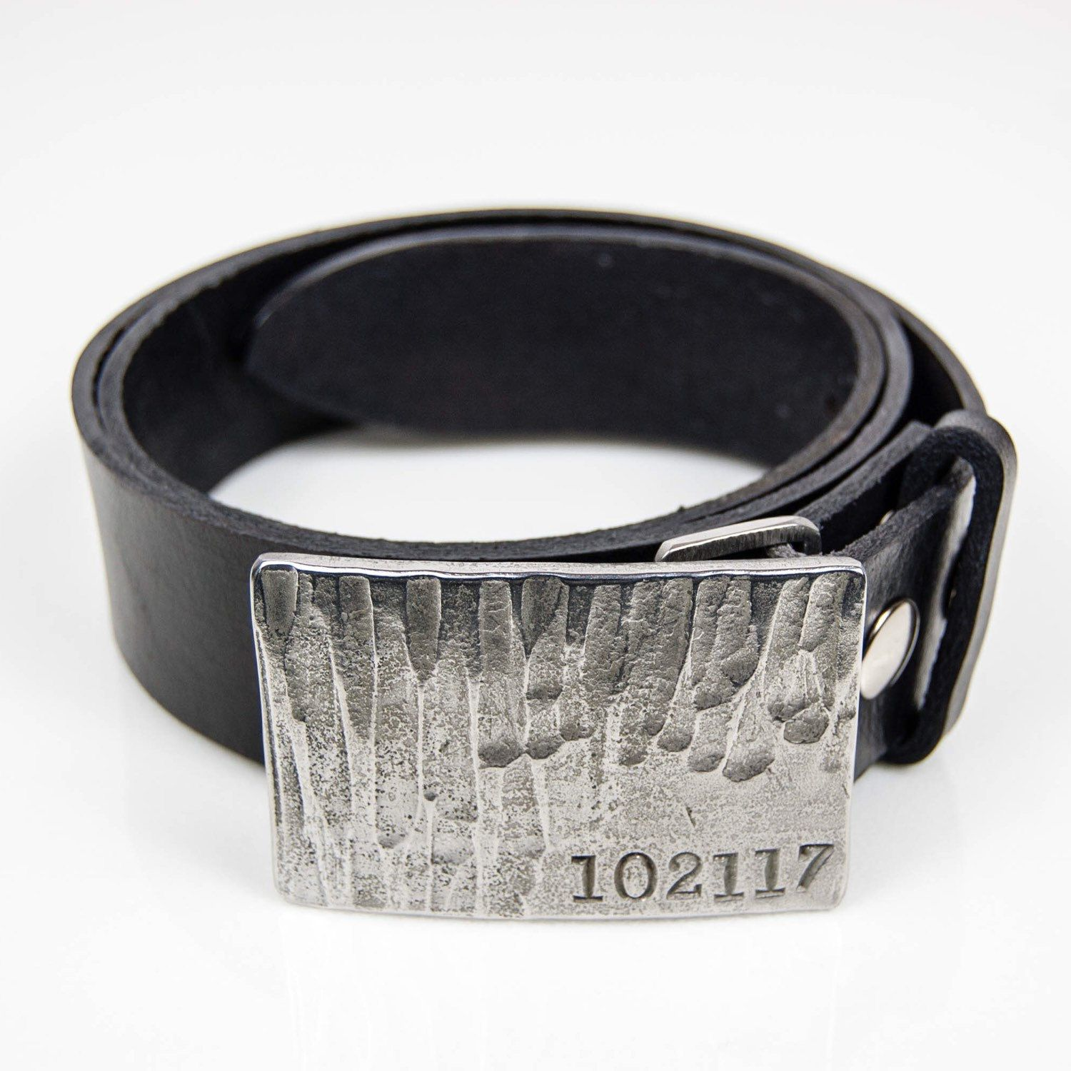 Initial Stamped Stainless Steel Buckle With Hammered Texture