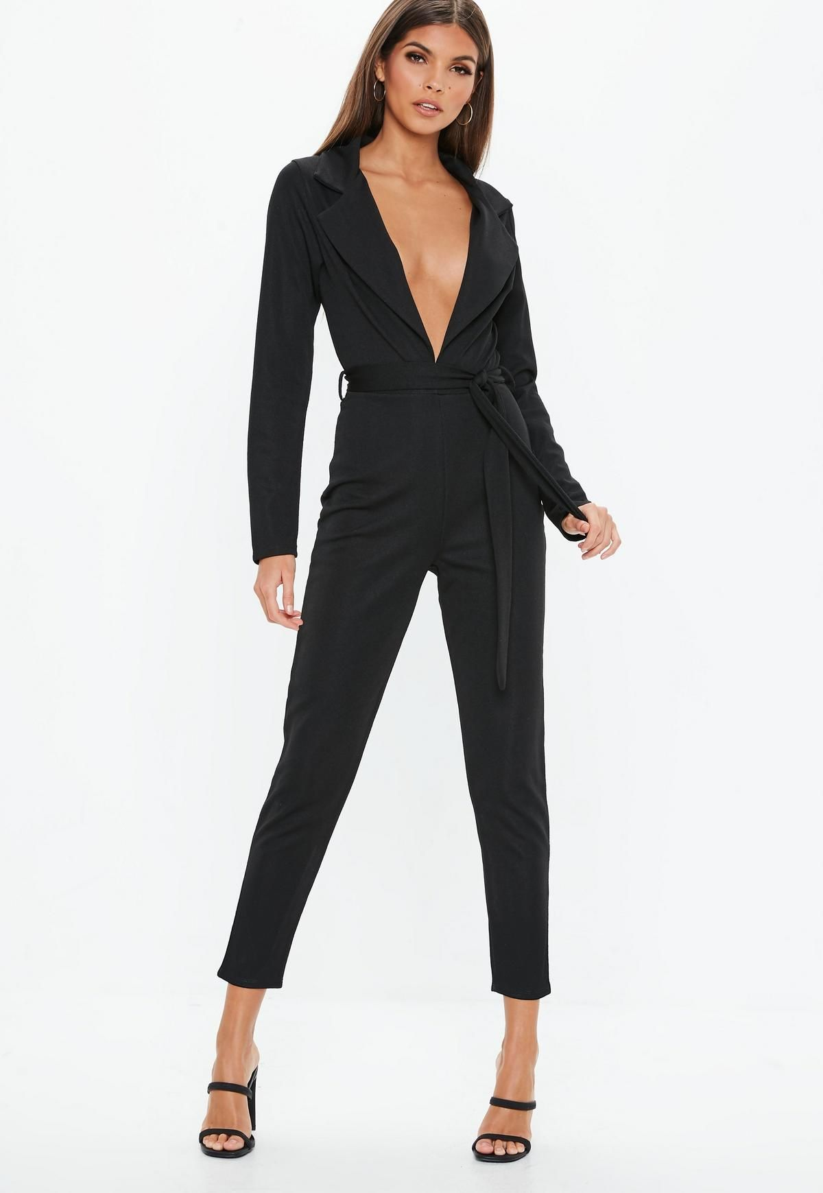 568145ed53 Black Tie Waist Blazer Jumpsuit