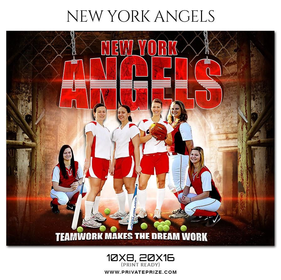 New York Angels Softball Themed Sports Photography Template Themed