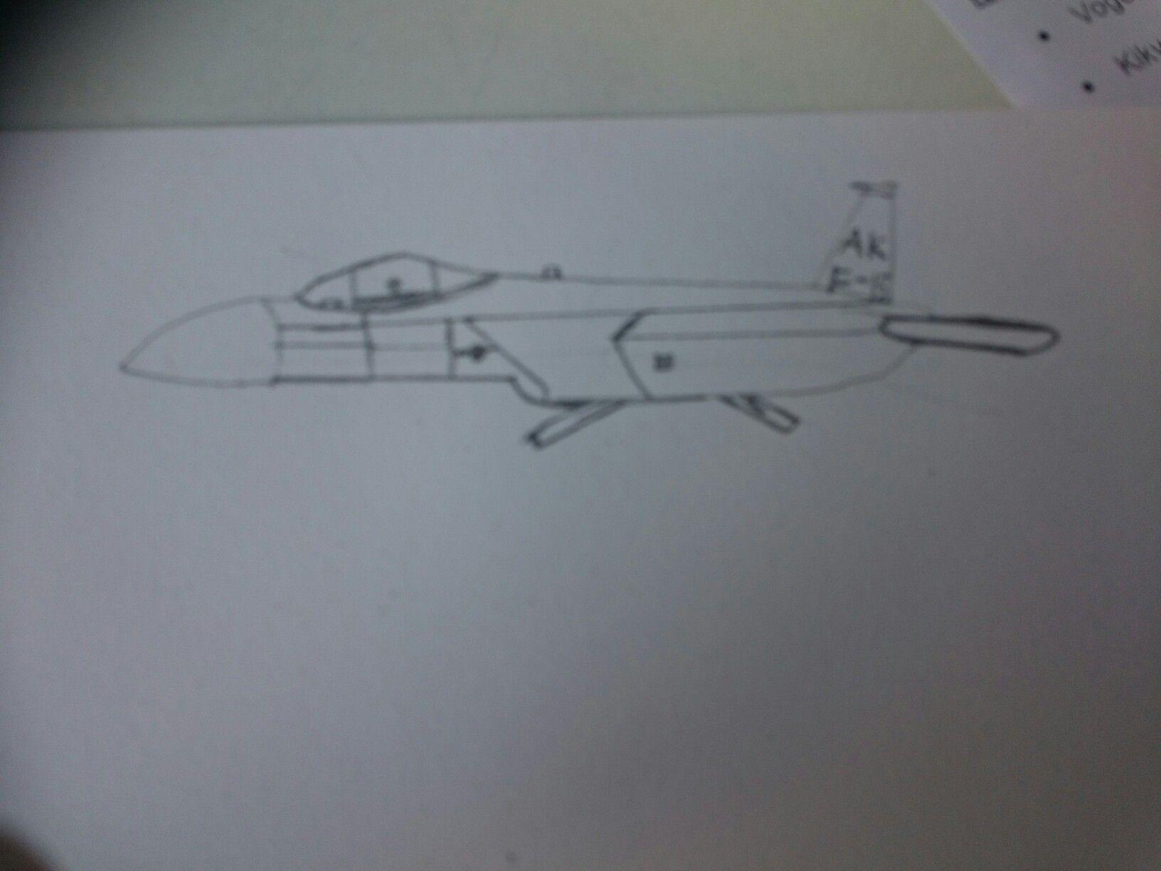 Tekenen opdracht 1 Test: Dit is een test van de straaljager die ik ga tekenen.