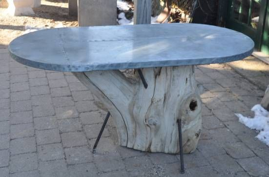 Oval Zinc Top Dining Table On Cypress Trunk Base Dining Table