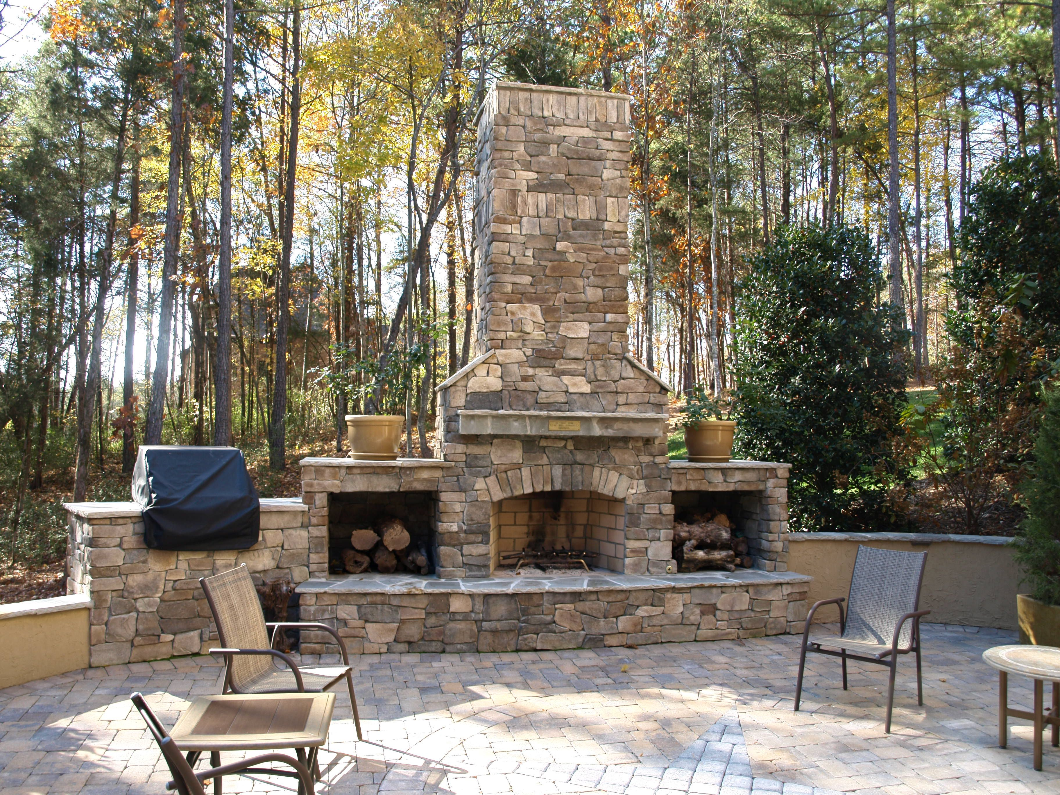 Freestanding Stone Fireplace