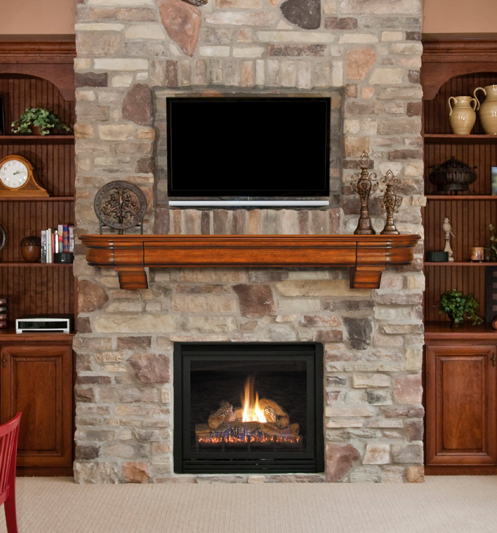 Stone Fireplace With Built In Cabinets: Living Room Designs With Fireplace And TV