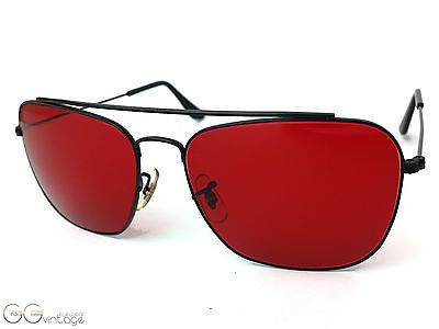 93222b0736 Ray-Ban red lenses USA B L Sunglasses 80 90 s Vintage unworn NOS Medium MEN  in Clothing