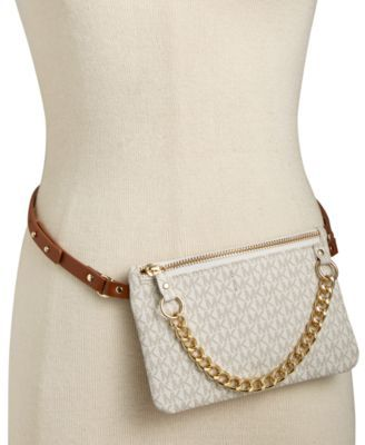 e3a6337f21c2 MICHAEL KORS Michael Michael Kors Mk Logo Leather Fanny Pack .  michaelkors   bags  leather  belt bags