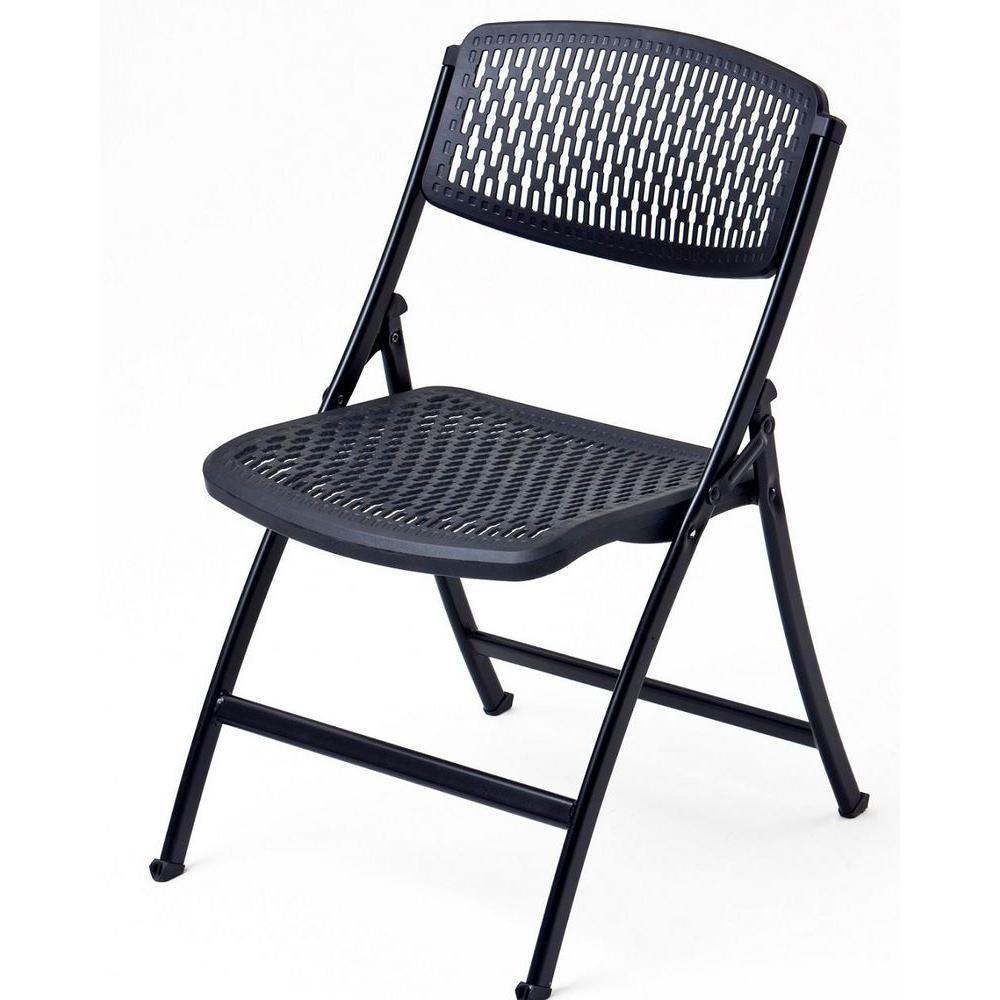 Mity Lite Oversized Black Metal Folding Chair Set Of 4 Folding