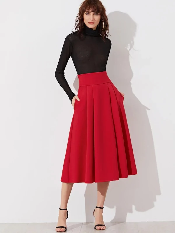 Wide Waistband Zip Side Pleated Midi Skirt