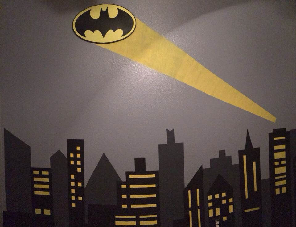 Batman gotham city wall mural mi casa pinterest boys for Batman wall mural