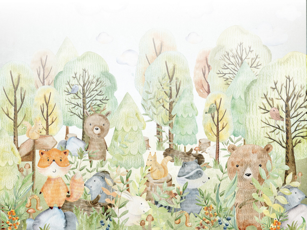 WOODLAND Wallpaper for children with animals safari