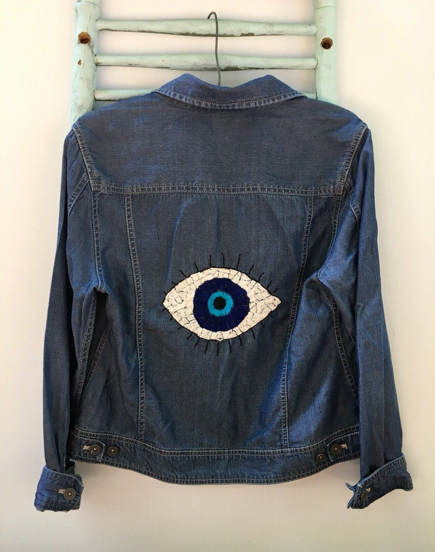 Embroidered Evil Eye denim jacket Small LL Bean boho hippie style jacket patched denim jacket classic jean jacket unique evil eye embroidery by savingmyvintageheart on Etsy