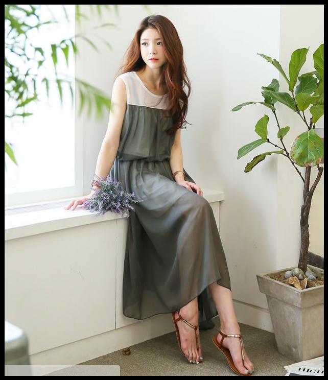 GLAM12 - Color-Block Chiffon Long Dress