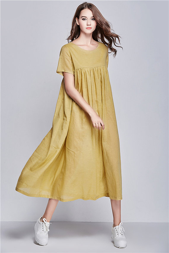 Yellow Beach Dress, Summer Holiday Trip, Maxi Linen Dress, Long ...
