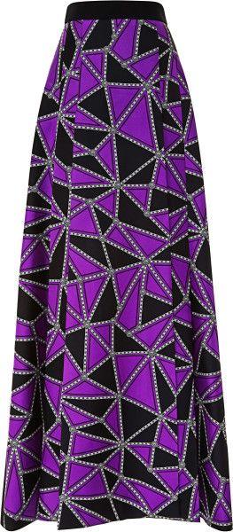 Fausto Puglisi Geo Blocked Silk Twill Long Skirt in Purple (Purple/Black)