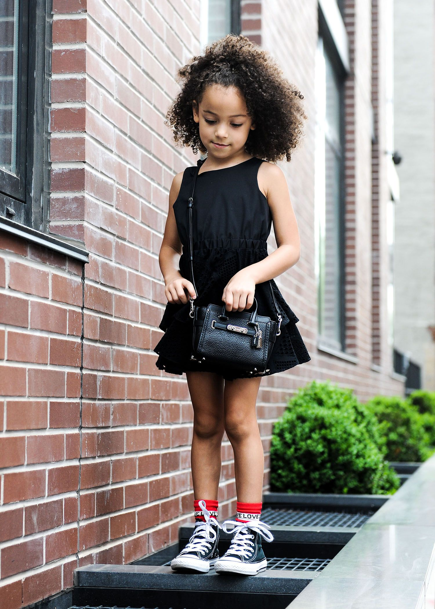 more photos cba9d 8ab0e Stylish daughter rocking a black mini dress with black converse and a coach  kid purse