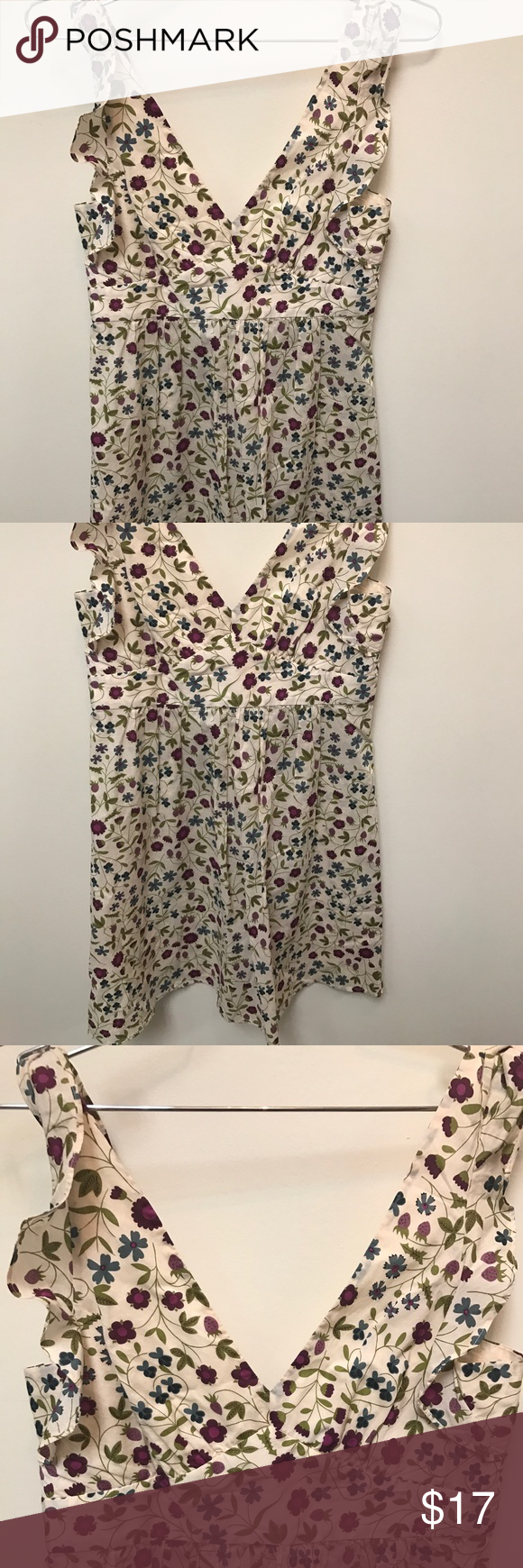 Theory floral dress size  size 0... beige floral Authentic Theory floral dress zipper closure beautiful condition Theory Dresses Midi