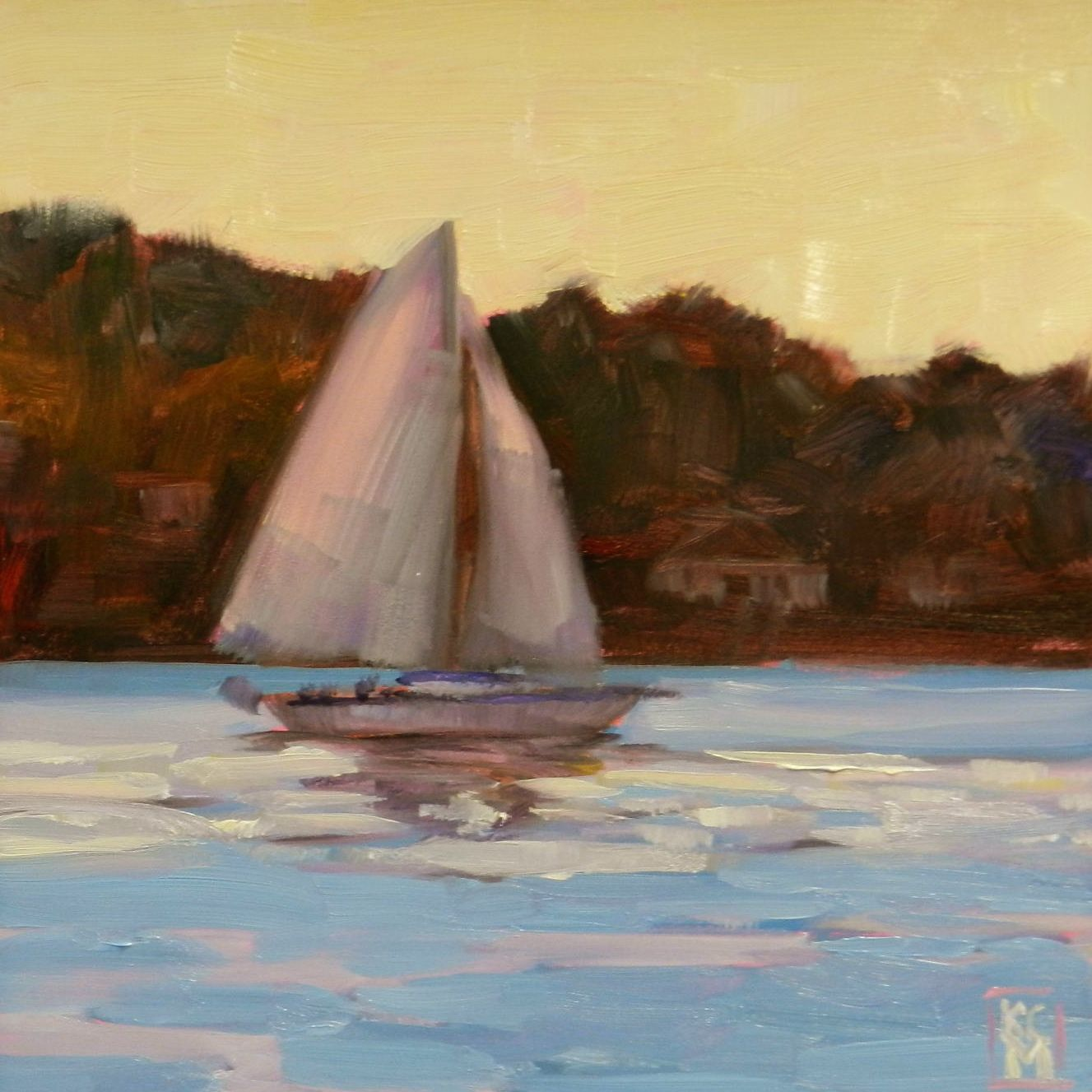sailboats | Kelley MacDonald's Daily Paintings: Heading Home, 6x6 Inch Oil ...