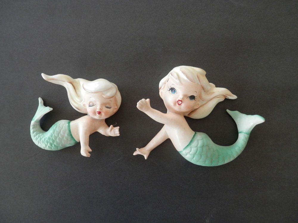 Pair Vintage Lefton Ceramic Mermaids - #11576 - Wall art (L05117)