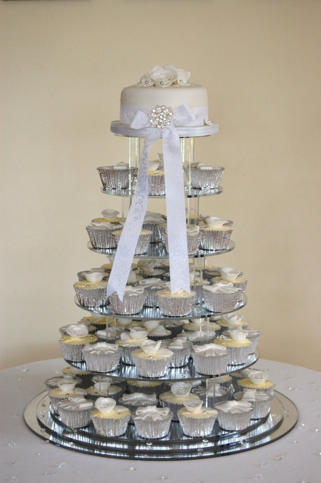 Silver wedding cupcakes | Events | Pinterest | Sugar flowers, Gems ...
